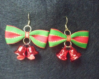 Christmas Bow and Bell Dangles