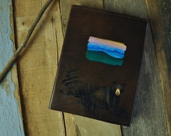 Blue Ridge Mountain Hand-painted Leather Journal Sketchbook Diary