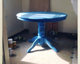 Restored Round Table in distressed blue