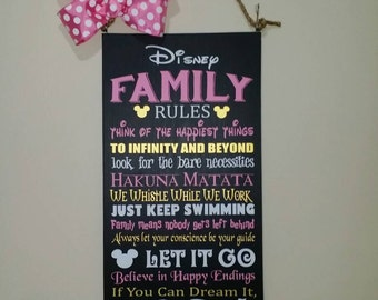 Disney Family Rules 22x12 wooden sign Pink gold white