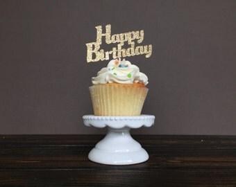 Happy Birthday cupcake toppers, birthday cupcake toppers, birthday decorations, birthday party decorations, birthday supplies