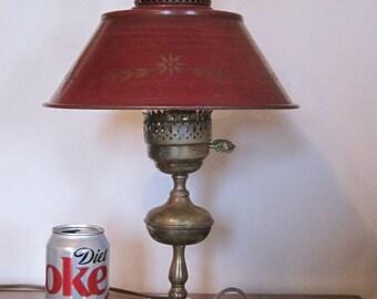Vintage Stenciled Lamp, Metal Table Lamp, Stenciled Electric Desk Lamp