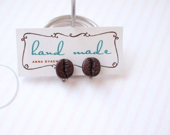 Coffee bean clip on earrings Brown clip on earrings Coffee lovers Tiny clip on earrings Sweet earrings