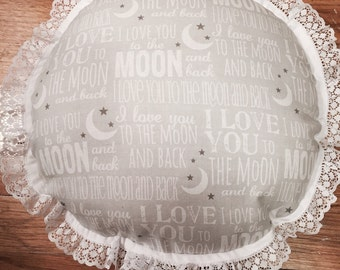 Love You To The Moon And Back Pillow - perfect for Nursery - Baby Shower - New Mom