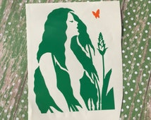 Mother Nature Decal With Butterfly , Plant Lady Sticker , Gift For Hippe Friend , Woman In Field , Gift For Gardener , Nature Lover Decal