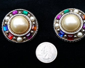 Vintage Clip Earrings, Faux Gems and Pearls