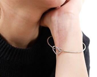 heart bangle, classic bangle, bangle, bangles, silver bracelet, silver bangle, bridesmaid gift, love bangle, bracelet bangle, wire bangle