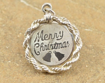 Rope Accent Merry Christmas Textured Round Charm / Pendant Sterling Silver 4.4g Vintage Estate