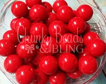 10pc. Red Gumball Beads 20mm