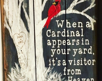 Visitors from heaven, Cardinal or Birds in our yard pallet wood sign
