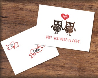 Printable Watercolor Owl Valentine's Day Cards- INSTANT DOWNLOAD, Owl Valentine Print, Love