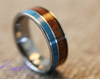 Inlay Wood Tungsten Carbide ring, wood wedding bands set, tungsten wedding bands with wood inlay, Inlay Turquoise, wood ring for man woman