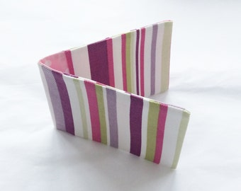 Striped Business Card Holder / Fabric Oyster Card Holder/ Credit Card Wallet - With Pink, Purple & Lime Stripes