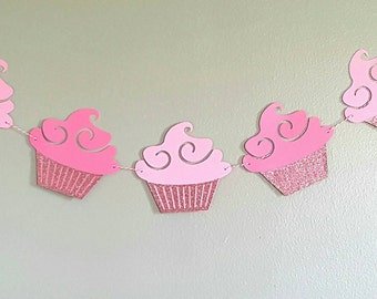 Pink cupcake birthday banner, cupcake party banner, cupcake decor