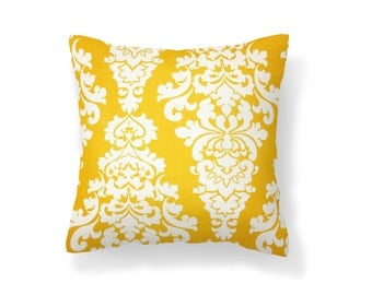 Yellow Outdoor Pillow Cover, Throw Pillow Cover.