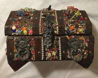 Amazing Vintage Hand Made Treasure Chest- Retro 1990s 1980s