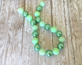 Bubblegum Bead Necklace - Girls Necklace - Green Necklace - Toddler Necklace - Big Bead Necklace - Kids Jewelry