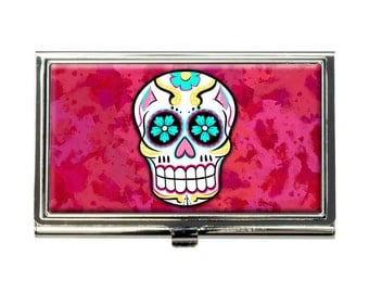 Sugar Skull Business Credit Card Holder Case