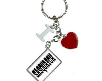Sasquatch I Heart Love Keychain Key Ring