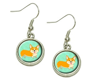 Quirky Corgi Dangling Drop Charm Earrings