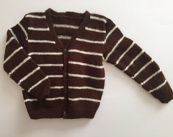 Brown and white striped cardigan