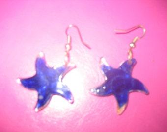 Reversible Cobalt/Royal Blue or Copper & Blue Glass Starfish Earrings