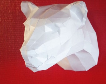 Trophy head of Panther white mounting paper