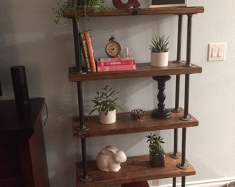 Industrial Pipe Shelf: Handmade Reclaimed Wood Bookcase / Shelves w/ Metal Pipe Supports For a Warm Industrial Look - Pipe & Flange