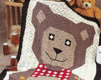 Crochet pattern baby blanket Teddy bear afghan throw PDF Instant Download Nr.137