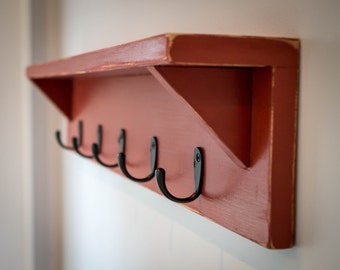 "30"" Coat Rack Wall Shelf"