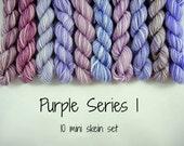 10 Sock Mini Skein Set- 20 yards each- Purple Series 1