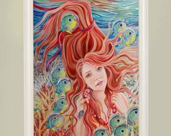 Zodiac signs. Pisces.Blue.Oil.Painting.Best gift.