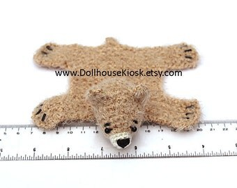 Dollhouse Miniature Knitted Bear Skin Rug - Light Brown - Limited Edition