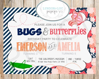 Bugs & Butterflies Birthday Party Invitation