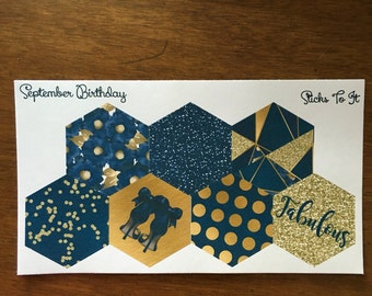 September Birthday Hexagon Stickers for Inkwell Press Monthly Dashboard ECLP Mambi Filofax Kikki K Happy Life Planner Glitter sapphire gold