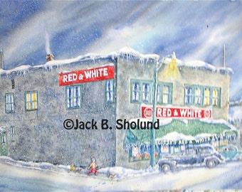 Scottie's Red and White Family Grocery Store In Bigfork During Winter Version Three Watercolor Notecard