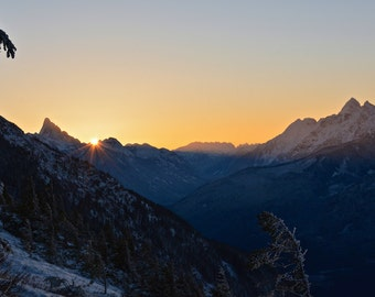 Sunrise over beautiful Mt Slesse in the cascades