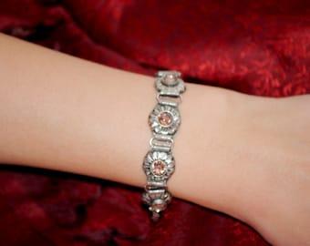 Silver Metal Flower Chain Bracelet