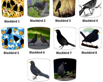 Blackbirds Lamp shades, To Fit Either a Table Lamp base or a Ceiling Light Fitting.