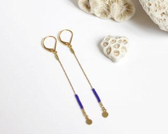 long serpentine chain, Golden lozenges and miyuki beads earrings