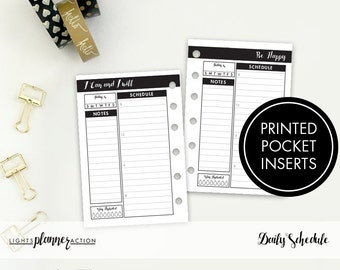 Undated Daily Insert | Pocket Planner Insert | Daily Planner Insert | Printed Pocket Ring Planner Insert