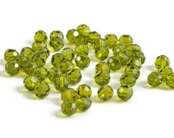 4mm Round Olivine SWAROVSKI® Crystal Beads #5000