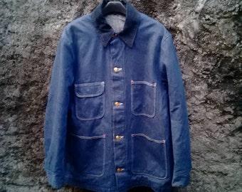 Vintage 60s Wrangler Blue Bell Barn Coat Chore Jacket Blanket Lined, Sz 38 Workwear