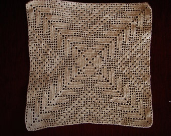 Vintage Handmade Crocheted Table Cloth, Crocheted Square Cloth