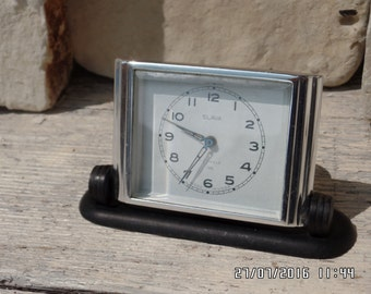 Vintage Slava Clock Mechanical Alarm Clock Russian 11 Jewels Chrome Art Deco Desk Clock