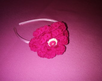 hair band headband with big crochet flower and button