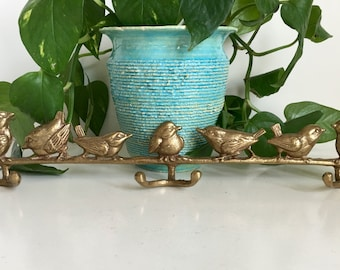 Vintage Brass Birds Coat Rack 6 Hooks 15""