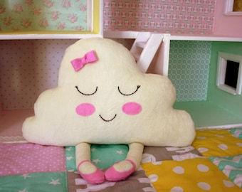 Cloud toy doll sleepy pillow - Handmade pillow - Nursery decor  - Happy girl cloud - Sleepy toy