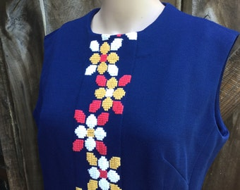 60s mod dress, mod floral dress, blue floral dress, embroidered floral dress