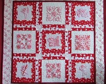 Valentine Angels Lap Quilt / Wall Quilt